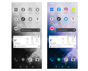 A before and after of the grayscale feature on an Android device.